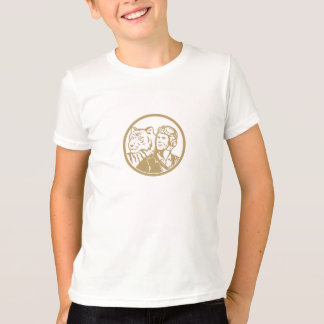 World War 2 Pilot Airman Tiger Gold Circle Retro T-Shirt