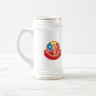 World War 2 Pilot USA China Flag Circle Retro Beer Stein