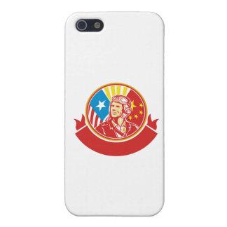 World War 2 Pilot USA China Flag Circle Retro Case For The iPhone 5