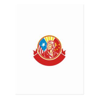 World War 2 Pilot USA China Flag Circle Retro Postcard
