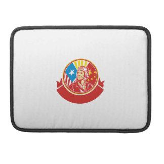 World War 2 Pilot USA China Flag Circle Retro Sleeve For MacBooks