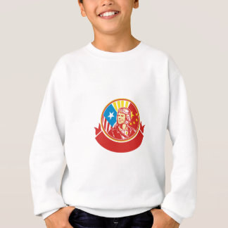 World War 2 Pilot USA China Flag Circle Retro Sweatshirt