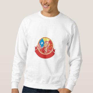 World War 2 Pilot USA China Flag Circle Retro Sweatshirt