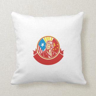 World War 2 Pilot USA China Flag Circle Retro Throw Pillow