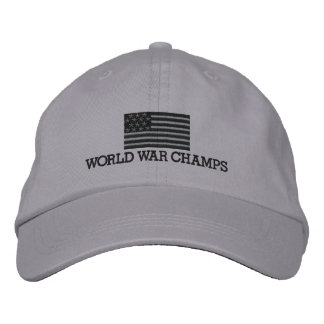 World War Champs - Grey and Black American Flag Embroidered Hat