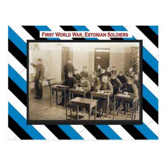 World War I, Estonian soldiers classroom Postcard