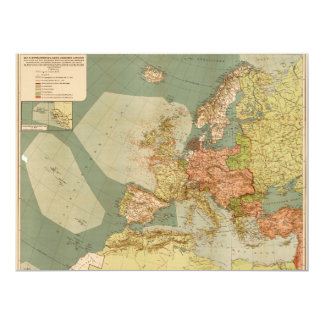World War I German Submarine (U-Boat) Map (1918) Card