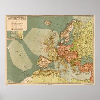 World War I German Submarine (U-Boat) Map (1918) Poster
