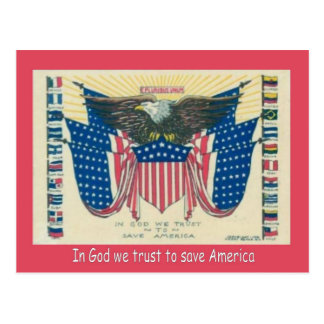 World War I,   Propaganda, In God we trust Postcard