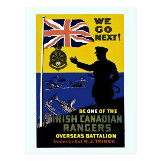 World war I: We go next, Irish Canadian Rangers Postcard