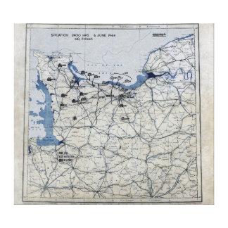 World War II D-Day Map June 6, 1944 Canvas Print