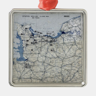 World War II D-Day Map June 6, 1944 Metal Ornament