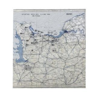 World War II D-Day Map June 6, 1944 Notepad