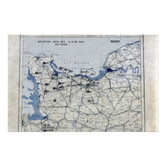 World War II D-Day Map June 6, 1944 Personalized Stationery