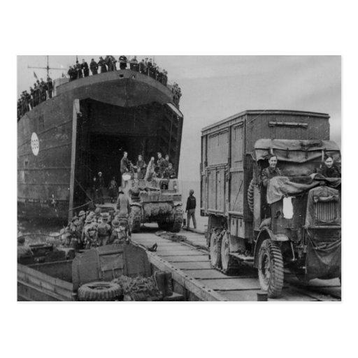 World War II  Lorries and troops disembarking Post Card