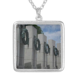 World War II Memorial Wreaths I Silver Plated Necklace