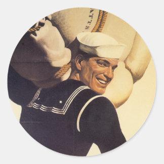 World War II Sailor Round Sticker