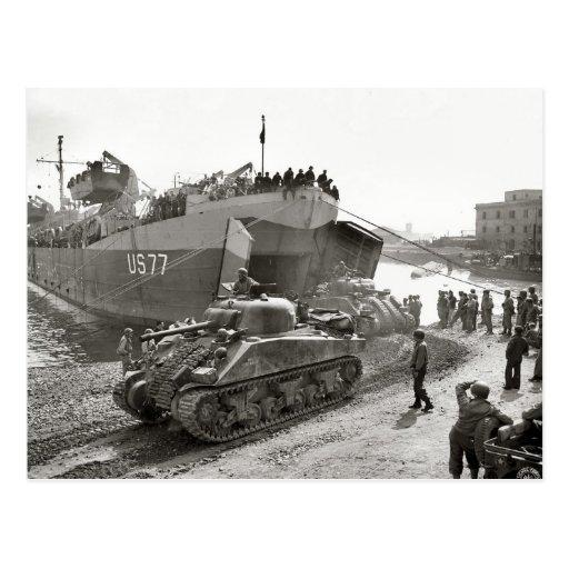 World War II  Sherman tanks disembarking in Anzio Postcards