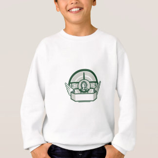 World War One Airman Biplane Circle Retro Sweatshirt