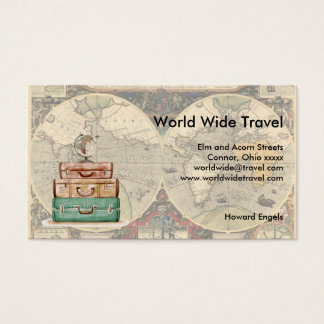 World Wide Travel Luggae and Map Business Card