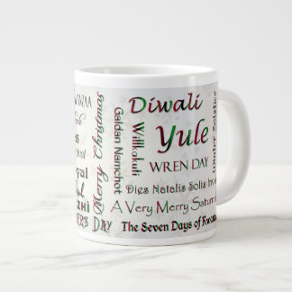 World Wide Winter Holidays - Typography #5 Large Coffee Mug