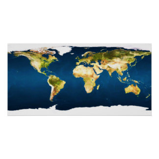 Worldmap in natural colors by healinglove poster