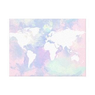 worldmap watercolor pink lilac canvas print