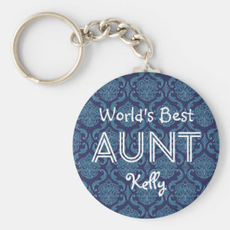 World's Best AUNT Custom  Dark Blue Damask Gift 14 Keychain