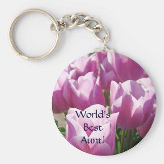 World's Best Aunt! keychain Pink Purple Dahlia