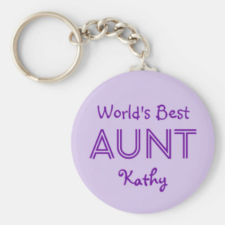 World's Best AUNT Lavender Purple Gift 14O Keychain