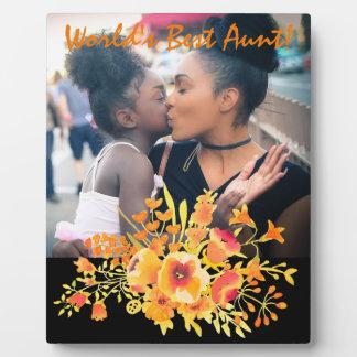 """World's Best Aunt"" & Tangerine Wildflowers Plaque"