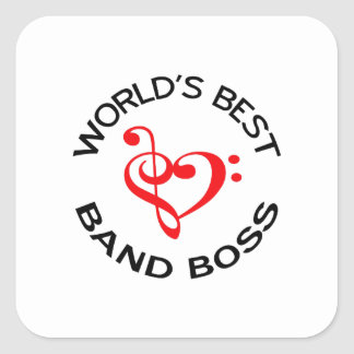WORLDS BEST BAND BOSS SQUARE STICKERS