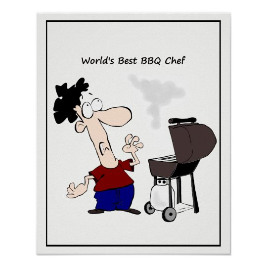 World's Best BBQ Chef Cartoon Poster