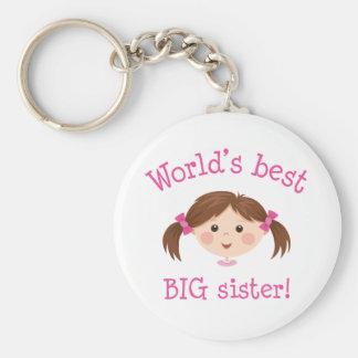 Worlds best big sister - brown hair basic round button keychain