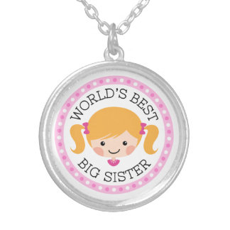 Worlds best big sister cartoon girl blond hair silver plated necklace