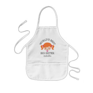Worlds best big sister red hair personalized kids apron