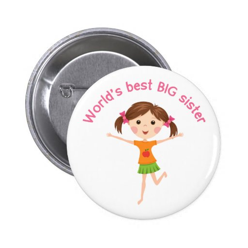 Worlds best big sister with cartoon girl pinback pin