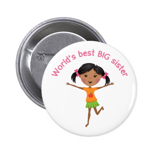 Worlds best big sister with cartoon girl pinback pinback buttons
