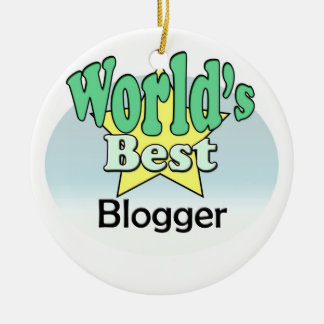 World's best blogger round ceramic ornament