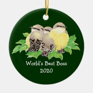 World's Best Boss Custom Dated Western King bird Ceramic Ornament