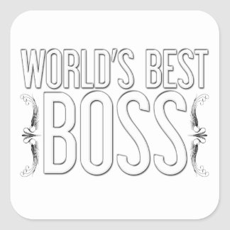 """World's Best BOSS"" Customized Square Sticker"