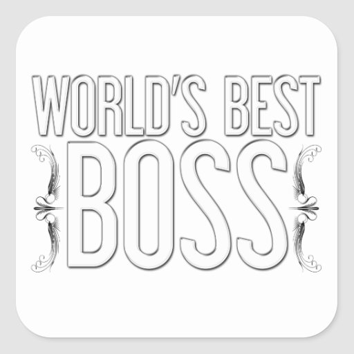 """World's Best BOSS"" Customized Square Stickers"