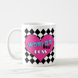 World's Best Boss - Pink Heart Coffee Mug