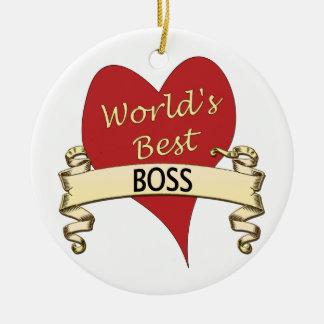 World's Best Boss Round Ceramic Ornament