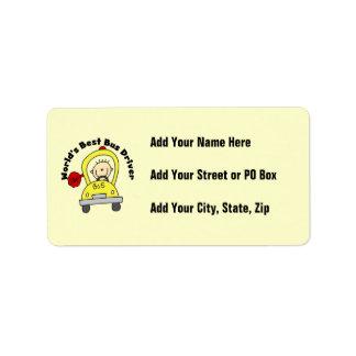 World's Best Bus Driver Address Label
