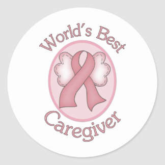World's Best Caregiver Breast Cancer Pink Ribbon Classic Round Sticker