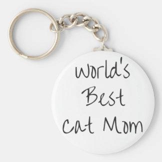 World's Best Cat Mom - Black Keychain