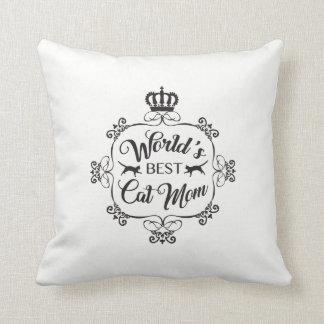 World's Best Cat Mom - Black Print Pillow