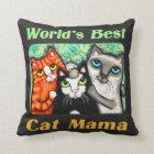 World's Best Cat Mom Chalkboard Kitty Pillow