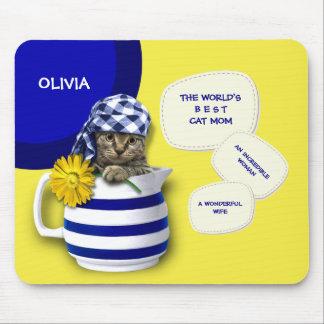 World's Best  Cat Mom. Custom Name Mousepads